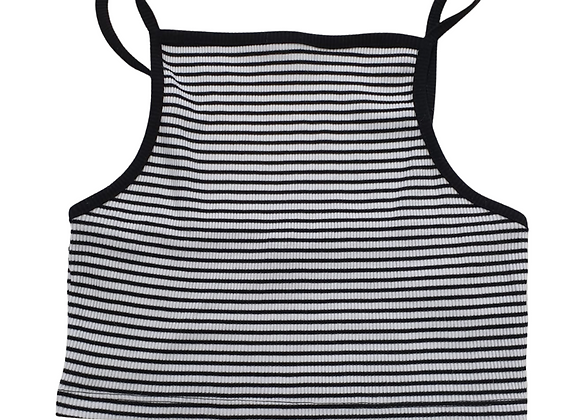 New Look Black/white striped cropped vest. Uk 8