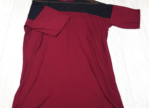 🔷️Boohoo wine red T-shirt dress with mesh insert size 10 (NWT)