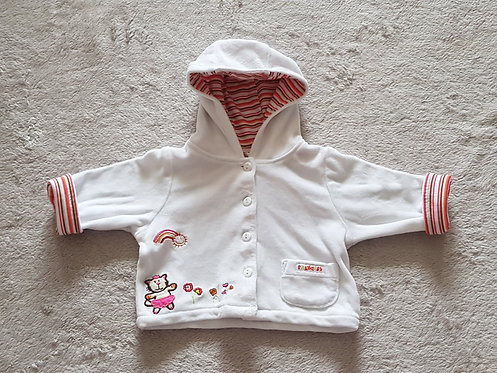 BABY White velour button up hooded cardigan. Newborn.