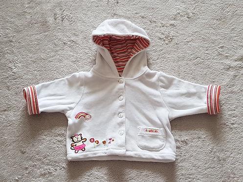 BABY White velour button up hooded cardigan. Newborn.