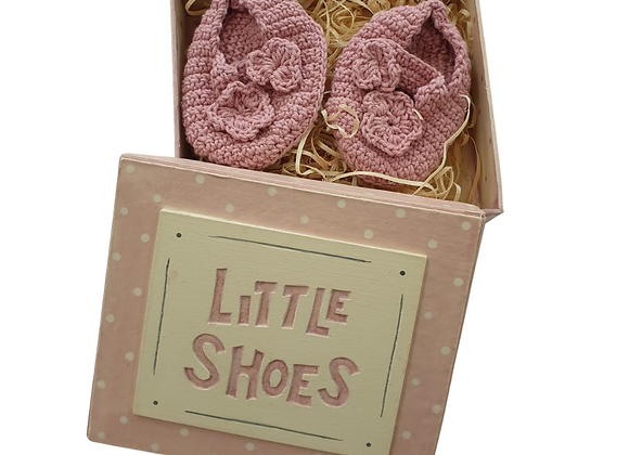 East of India pink crocheted baby shoes in box