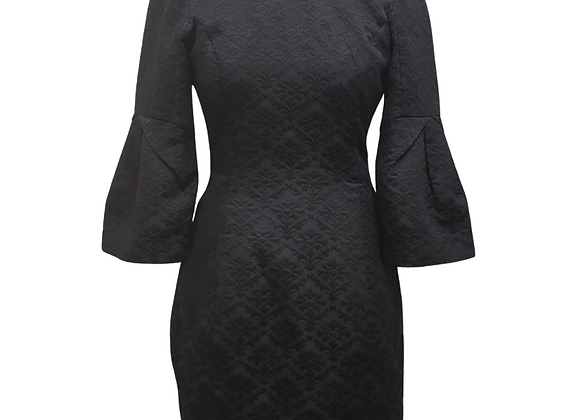 Peacebird Black textured dress with flared crop sleeve. Size S
