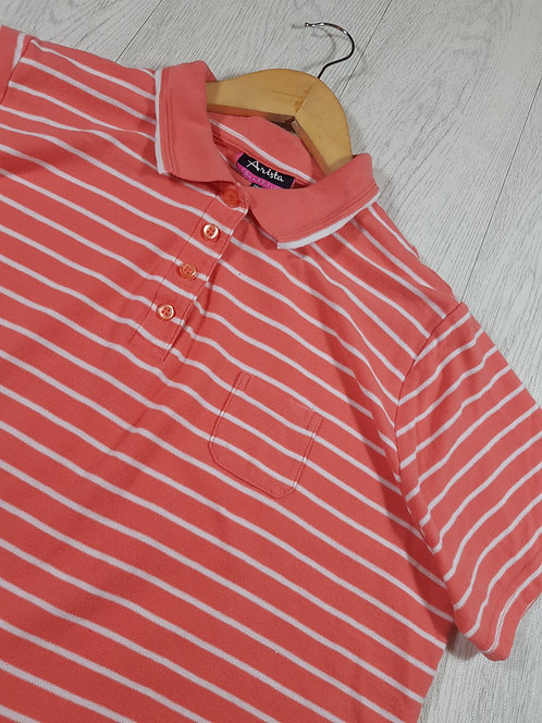 ✴Arista womens salmon pink striped polo shirt size 18/20