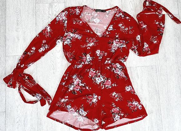 Boohoo red floral playsuit with tie sleeves. Uk 8 Petite