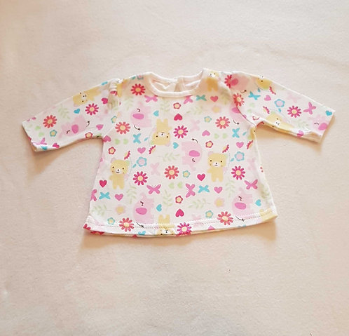 GEORGE Long sleeved top with animal print. Tiny Baby