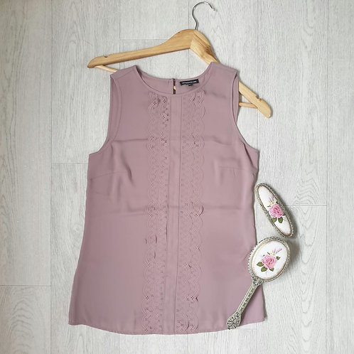 🧡Warehouse dusky pink sleeveless blouse.  Size 8