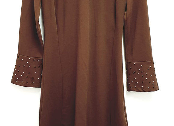 Actuel brown dress with beaded cuffs.