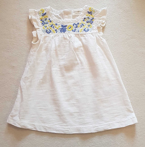Next white dress with floral stitching. Up to 3months