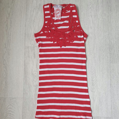 🧡Denim Co red/white vest top. Size 8