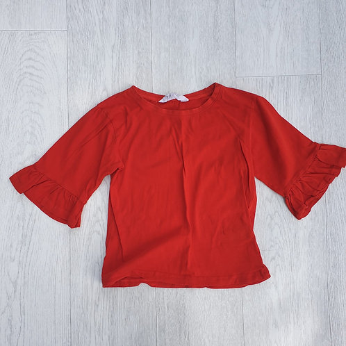 🐦H&M red top with flared sleeves. 6-8yrs