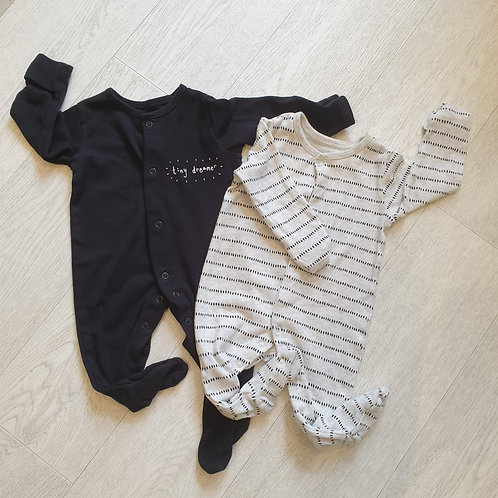 George set of 2 sleepsuits. 3-6m