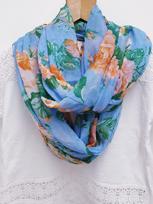 🍂Pieces Accessories blue floral lightweight snood scarf