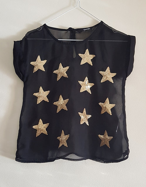 GEORGE Black lightweight top with gold sequin stars. 4-5 yrs