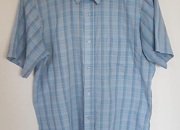 Blue checkered short sleeve shirt. Size 14 1/2 Neck