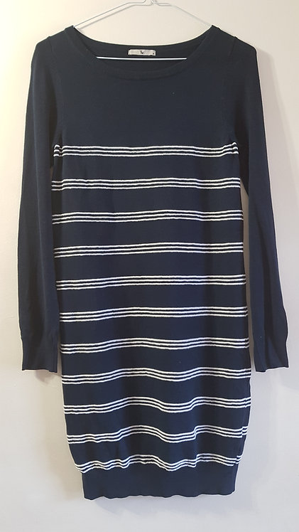 Tu. Jumper dress in navy with white stripes. Size 8.