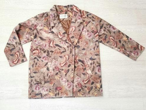 Artigiano green thick floral wool mix coat. Uk 16