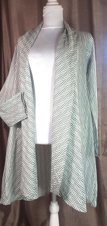 The Shop green/white patterned open waterfall jacket. Size M