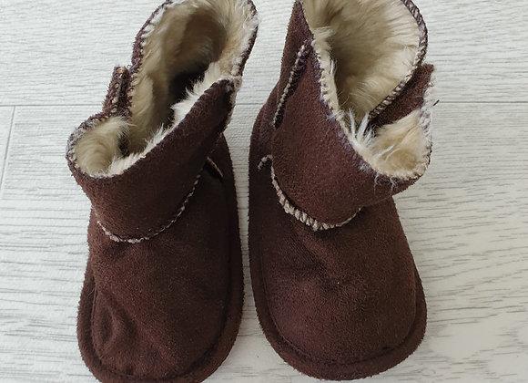 Brown suede look booties. 6-9m