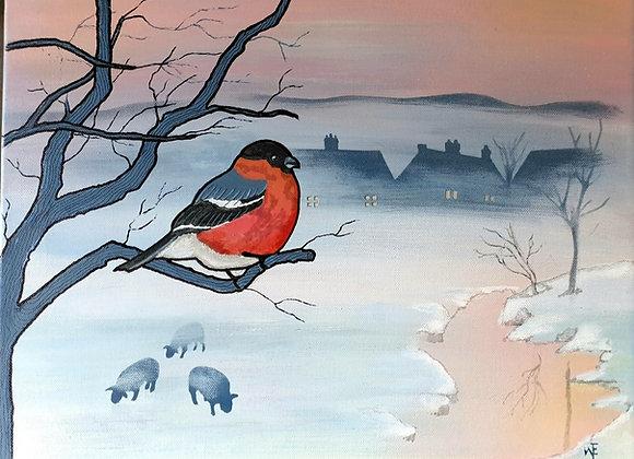 Bull Finch mixed media canvas