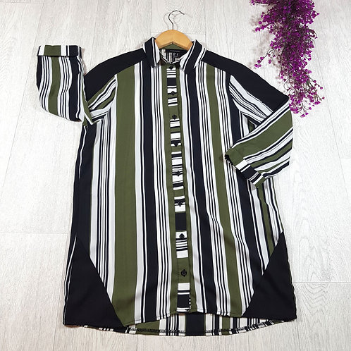 ✴Atmosphere khaki green and black striped chiffon shirt size 10(NWOT)
