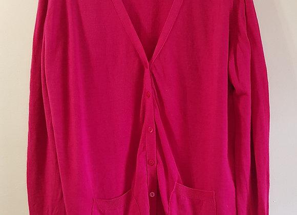 EDINBURGH WOOLLEN MILL Pure Classics dark pink Lambswool cardigan. Size L.