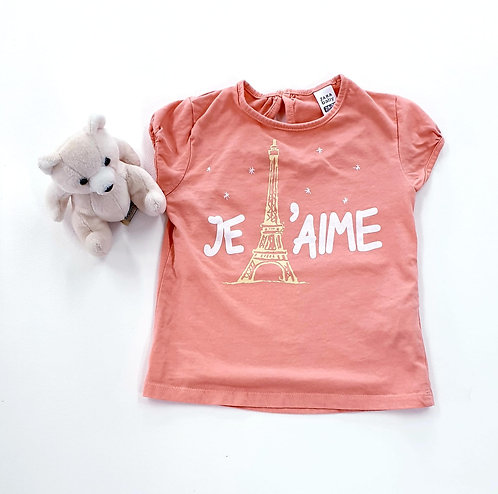 🦚Zara coral Eiffel Tower T-shirt. 2-3yrs
