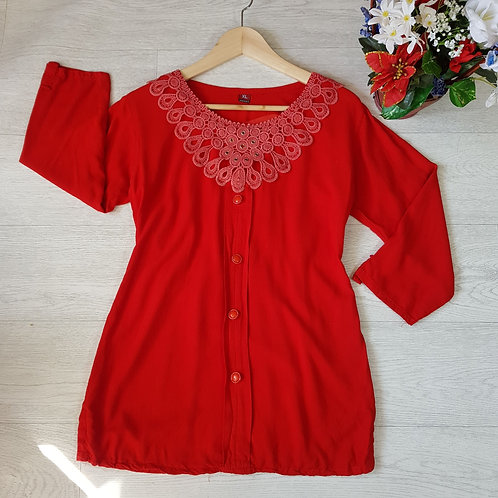 Bright red smock top.