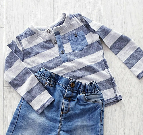 🦝F&F striped top. 12-18m