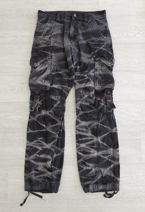 Black tie dye combat trousers. Size S