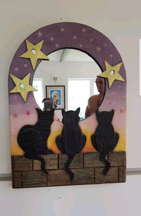 ◾Vintage Papier Mache framed Cat Mirror