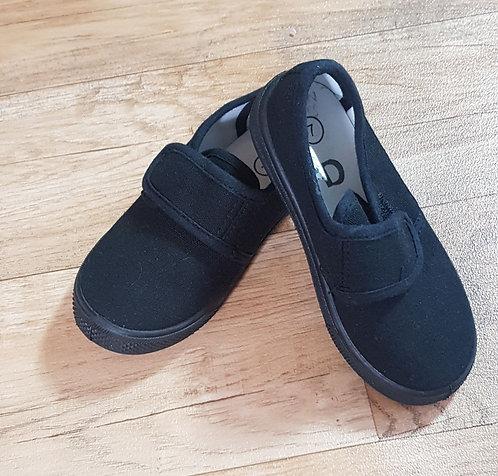 Black velcro plimsoles. Size 7