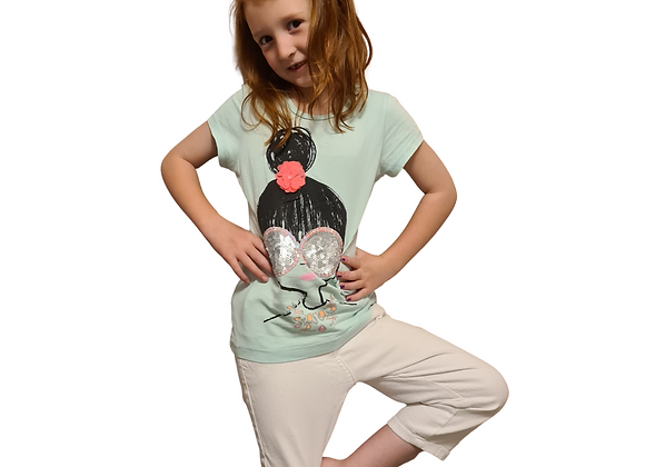 Bluezoo turquoise t-shirt with sequins and flower. 7-8yrs