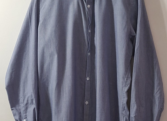 "Cedar Wood State. Blue slim fit pinstripe shirt. 15.5"" 39-40cm."