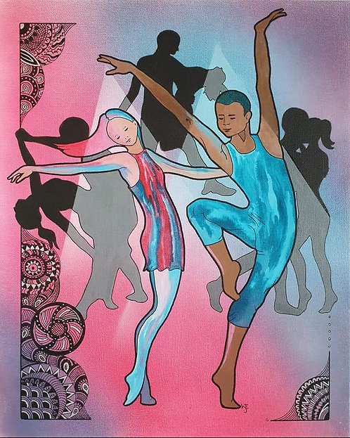 Dancers mixed media canvas