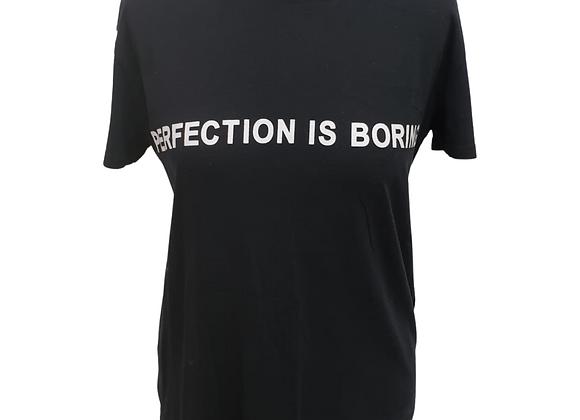 "Bershka ""Perfection Is Boring"" black t-shirt. Size M"