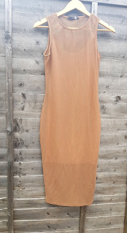 🔷️Boohoo beige mesh long dress size 10 (NWT)