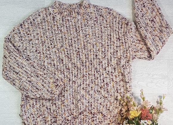 F&F cream knit sweater with plum/yellow flecks. Size 14