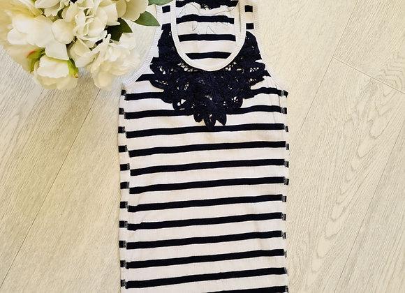 💜Denim Co white/navy vest top. Size 8