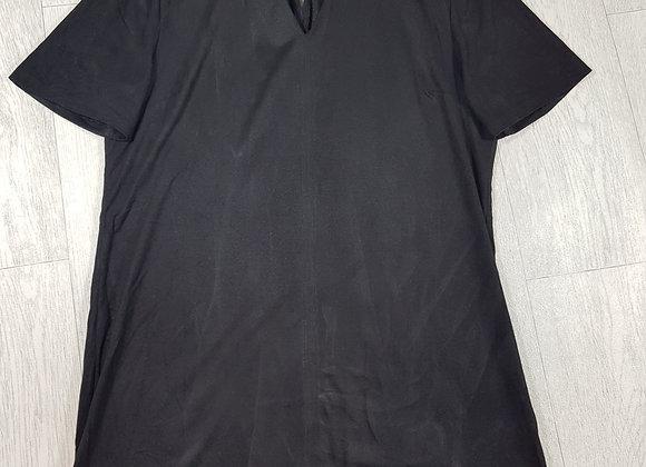 🔷️Atmosphere black Velvet feel t-shirt dress with choker collar size 10