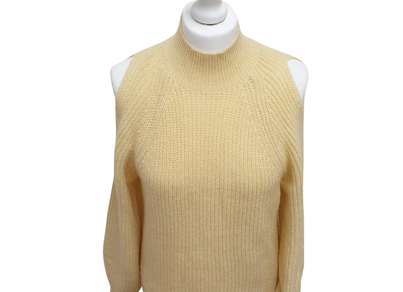 F&F creamy yellow cold shoulder sweater. Uk 12