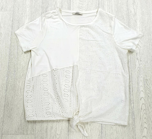 ■George white knot front t-shirt. Size 16