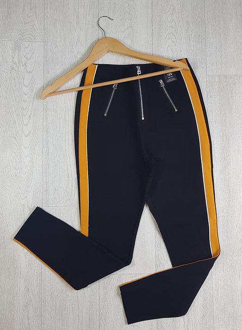 🔷️River Island black and mustard stripe thick leggings size 10 (NWT)