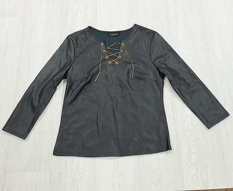 Capsule black faux leather top. Size 2