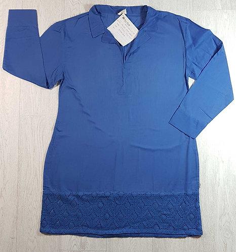◾The Shop drop waist crochet tunic. Blue.  Size M nwt