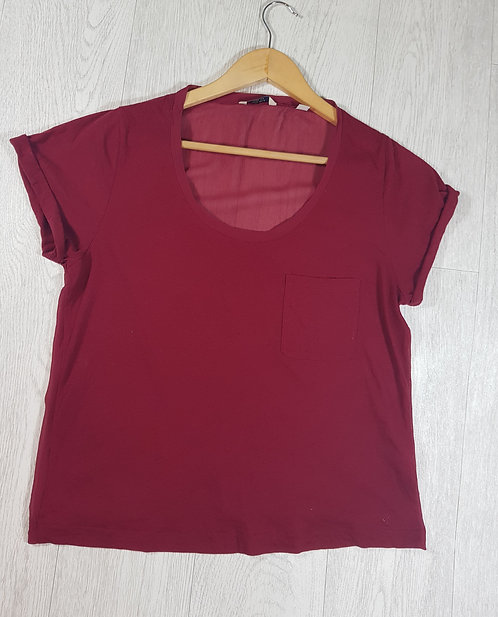 ✴Jack Wills lightweight red top with chiffon back size 8