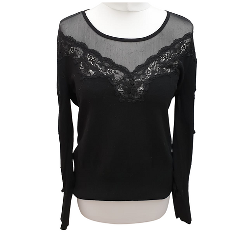 Star by Julien Macdonald Black lace lightweight sweater with lace sleeves. Uk 16