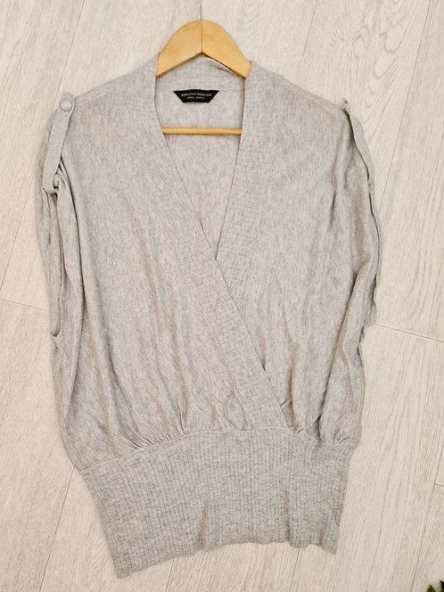 💜Dorothy Perkins grey wrap look top. Size S