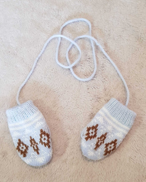 Blue wooly mittens with fleece lining