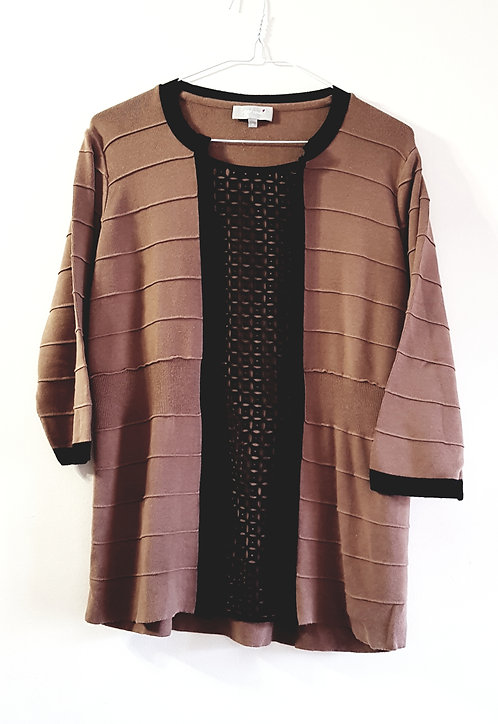 MARKS AND SPENCER Brown and black knit blouse. Size 16