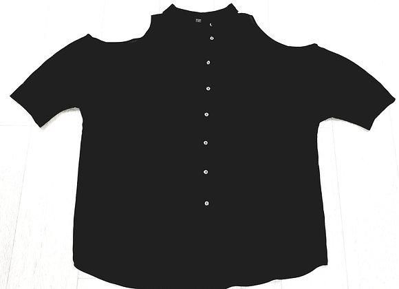 •F&F black cold shoulder blouse. Size 16
